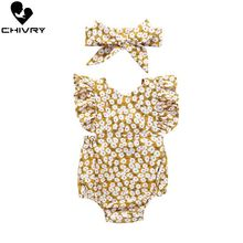 Chivry 2019 Baby Girls Bodysuit Summer Sleeveless Bodysuit Floral Print Cute Jumpsuit + Headband Newborn Playsuit Infant Clothes недорого