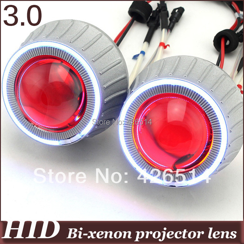 3 inch bi xenon car les 35w 3400lm H1 H4 H7 H11 9005/6 Bi-xenon Projector Lens kit CCFL Angel Eye Devil Eye for auto headlight 35w ccfl angel h1 h49005 9006 3 inch bi xenon h7 hid projector parking h4 in car light source