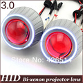 3 inch bi xenon car les 35w 3400lm H1 H4 H7 H11 9005/6 Bi-xenon  Projector Lens kit CCFL Angel Eye Devil Eye for auto headlight