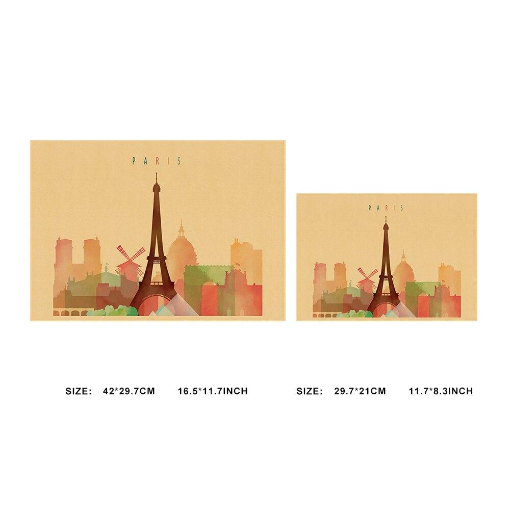 European Paris Architecture Watercolor Landscape Kraft Paper Poster ...