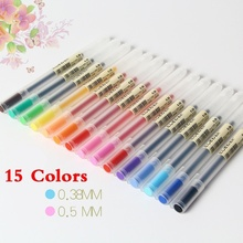 15 Colors Muji Style 0.38/0.5 MM Colored Gel Pens Transparent Scrub Colour Ink Pen Marker for School Student Office Supplies все цены