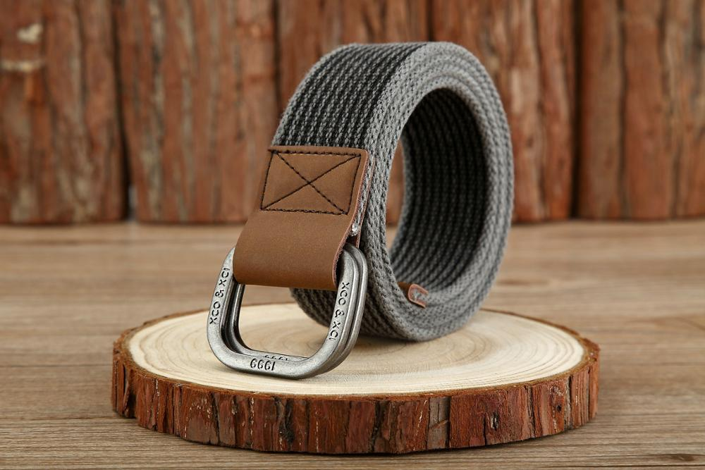 Double ring buckle woven canvas factory direct men 39 s cotton retro leather buckle canvas belt in Men 39 s Belts from Apparel Accessories