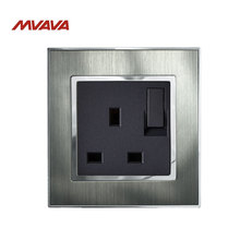 MVAVA UK Standard Switched Socket Decorative Wall Plug With Switch Luxury Satin Metal Silver Panel