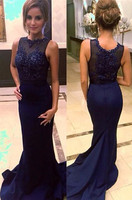 Navy Blue Bridesmaid Dresses Mermaid Satin Long Formal Bridesmaid Dresses