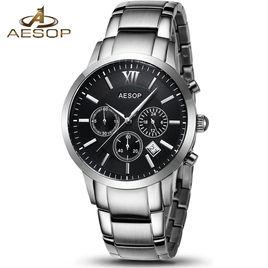 AESOP Mens Luxury Brand Full steel Quartz Watches Men Military Waterproof Wrist watch Man Fashion casual Clock relogio masculino цена и фото