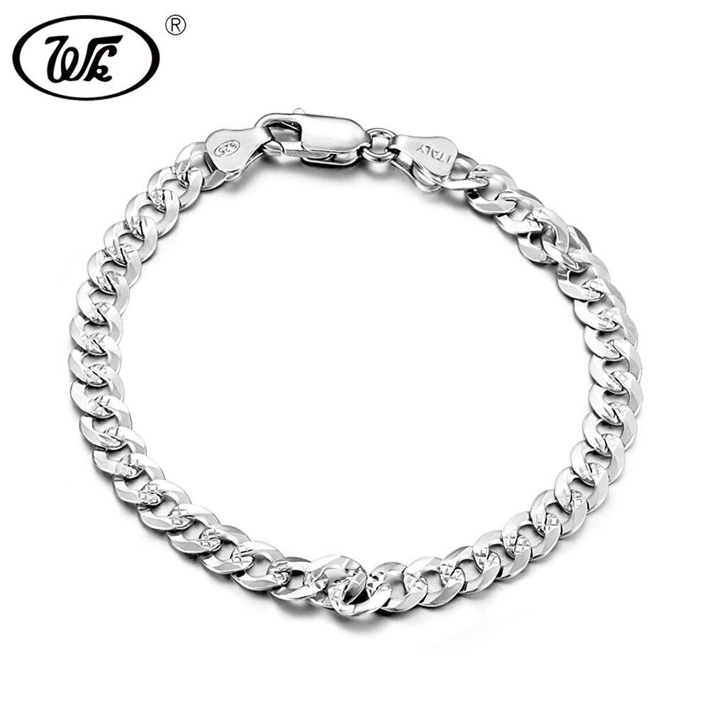 WK Genuine 925 Sterling Silver Bracelet Men Male Boys Hiphop Curb Cuban Hip Hop Hand Chain Link Mens Bracelets Wholesale T BM006