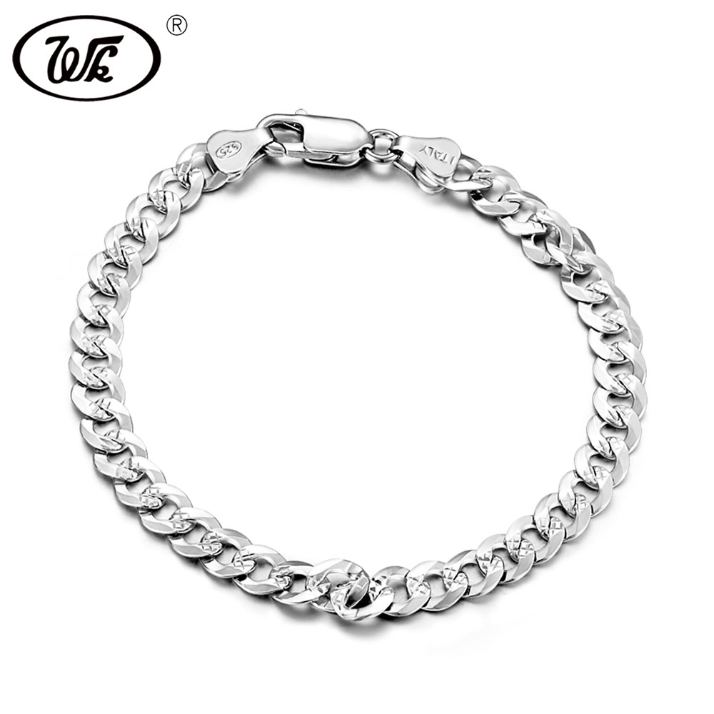 WK Flat 6MM 7MM Genuine 925 Sterling Silver Chain Link - Նուրբ զարդեր - Լուսանկար 1