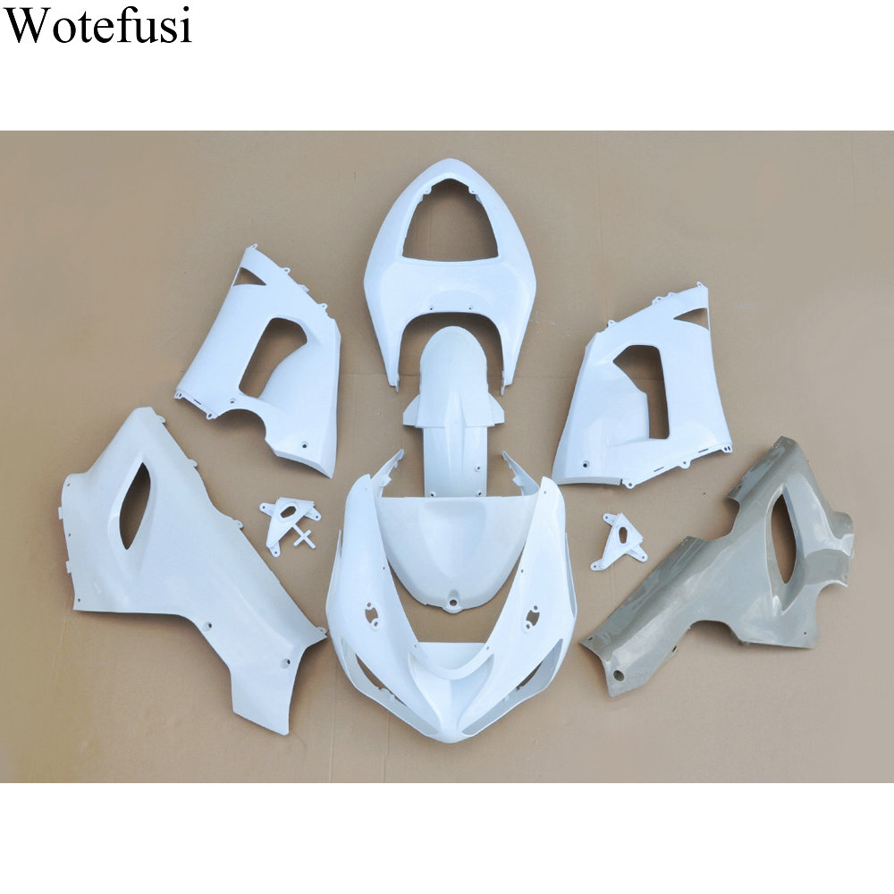 Wotefusi ABS White Injection Mold Unpainted Bodywork Fairing For Ninja ZX 6R 05 2006 [CK1027] wotefusi abs injection unpainted bodywork fairing for kawasaki ninja zx10r 2004 2005 [ck1059]