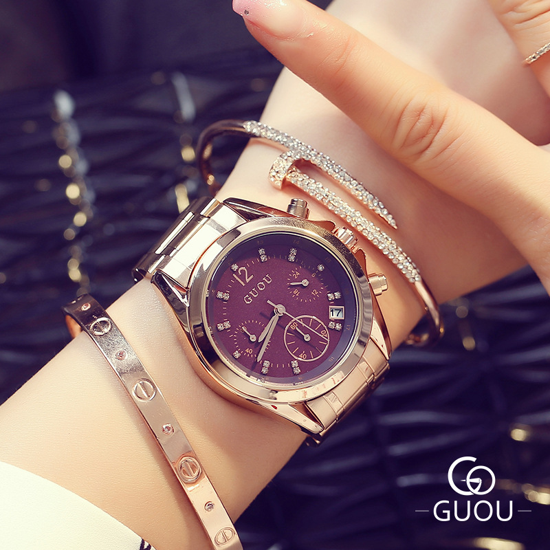 GUOU Brand Quartz Lady Watch Rhinestone Waterproof Steel Rose Gold Women's Watch Luxury Gift Wristwatches 8132 /w Calendar hk guou brand quartz lady watch rhinestone waterproof women s watch genuine leather upscale large dial luxury gift wristwatches