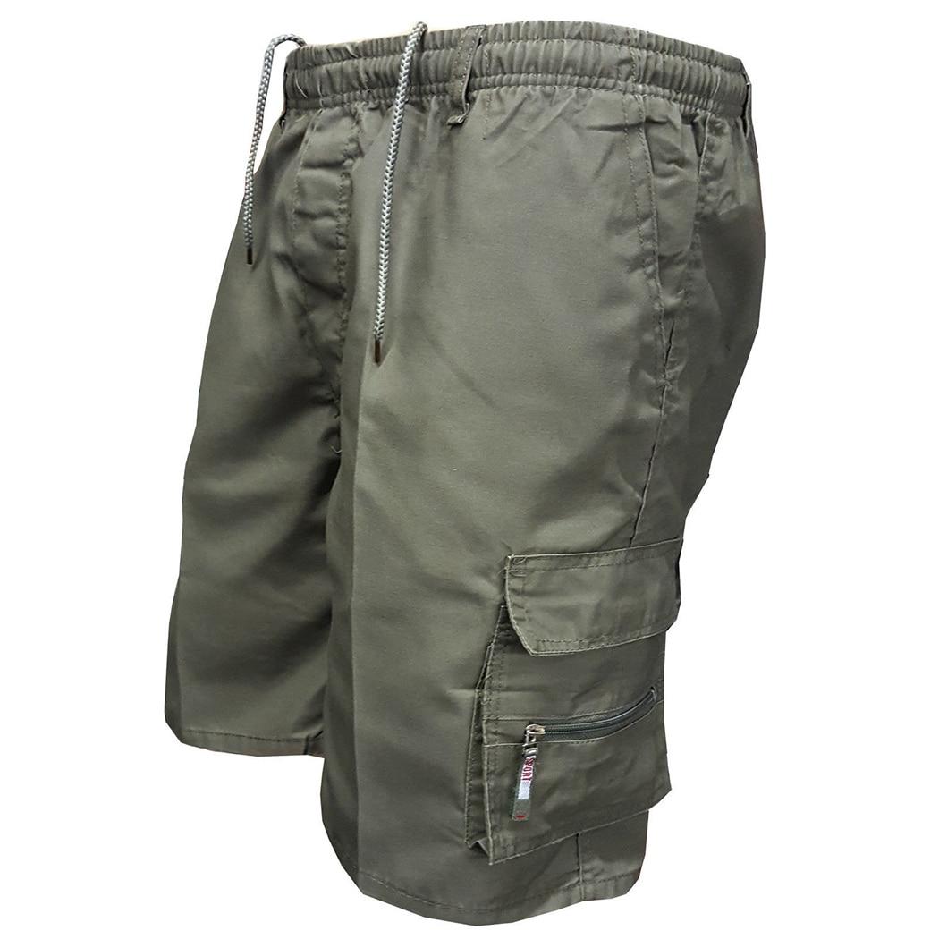 2018 hombres Multi bolsillo militar Cargo Shorts algodón Casual longitud de la rodilla del ejército Tactical Shorts hombre verano Hombre Pantalones