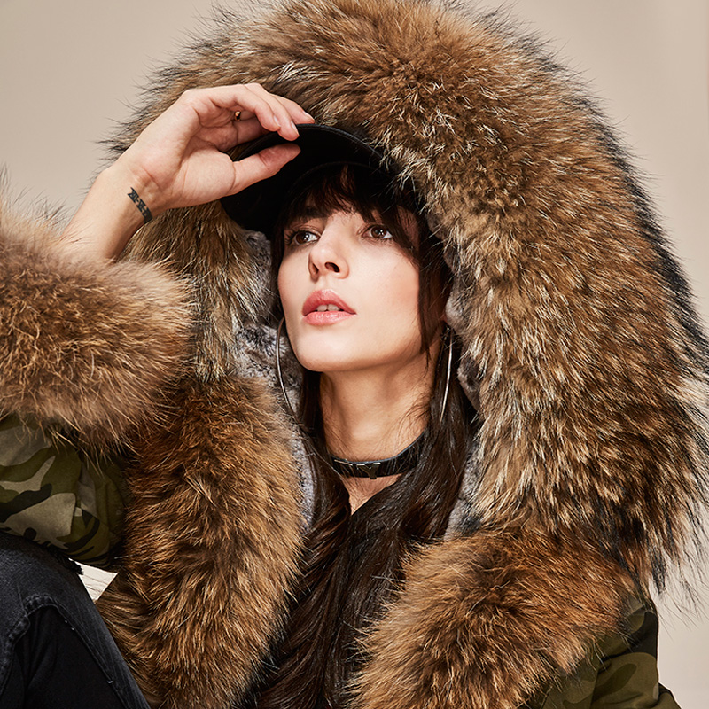 New 2017 High Fashion Winter Jacket Women's Luxurious Real Large Raccoon Fur Collar MINI Camouflage Parkas Hooded Coat Outwear 2017 new fashion women luxurious large raccoon fur collar coat warm rabbit fur liner parkas long winter jacket top quality
