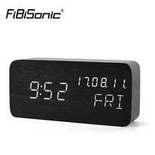 FiBiSonic wooden LED  clock,date+week+time temperature sound control Electronic Digital Table Desktop Clocks