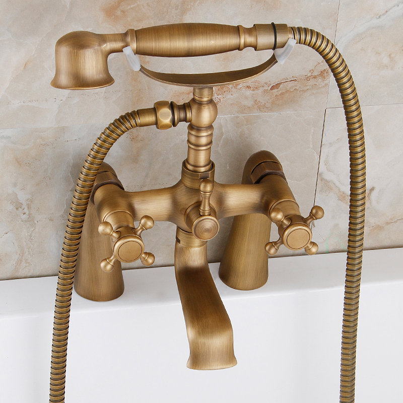 цена на 2016 Best Selling High-end Dual Handles Antique Brass Bathroom Deck Mounted Shower Faucet