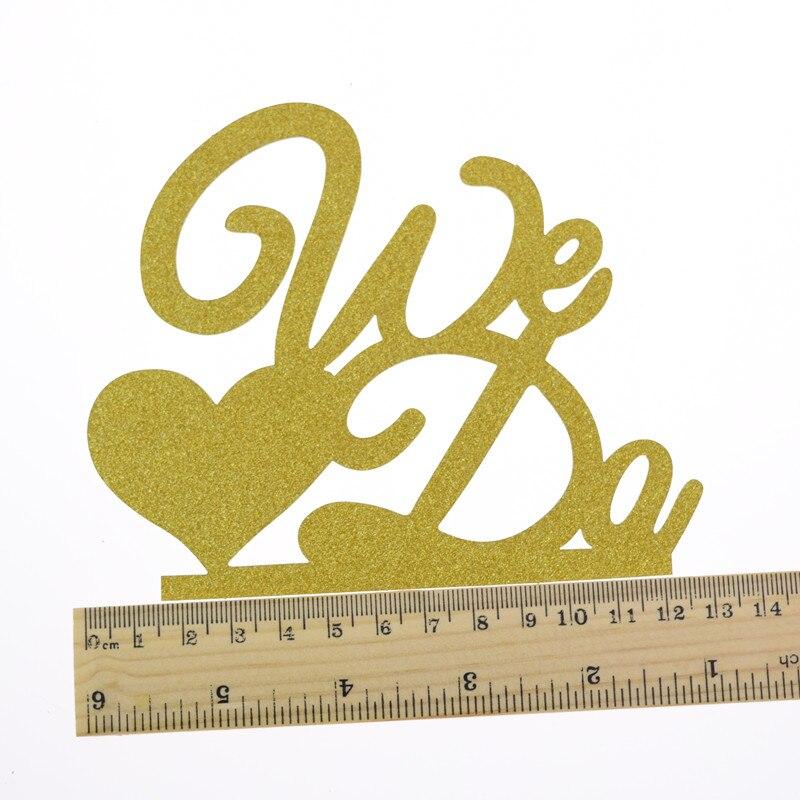 Buy 1pc We Do Wedding Cake Topper Love Heart Glittler Cake Flags ...