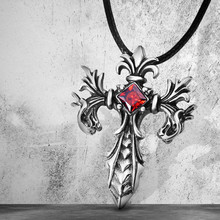 Red Crystal Cross Pendant Necklace Vintage Gothic Cross Pendant Necklace Devil Lucifer Satan