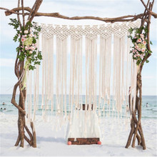 Handmade woven curtain tapestry home accessories Wedding bohemian Beige cotton wall decoration hanging gifts