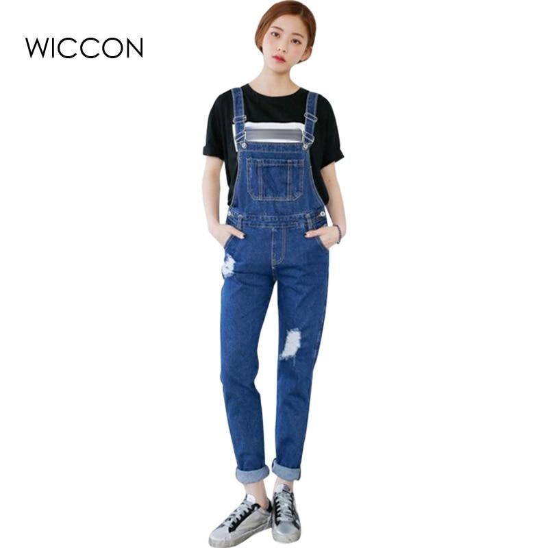 9beb46875925 2019 New Spring Streetwear Holes Loose Denim Overalls Rompers Womens  Jumpsuit Casual Girls Long Suspenders Jeans Ladies Trousers