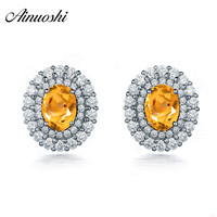 AINUOSHI Natural Citrine Double Halo Earring 2.5ct Oval Cut Gems 925 Sterling Silver Stud Earring Engagement Party Women Jewelry