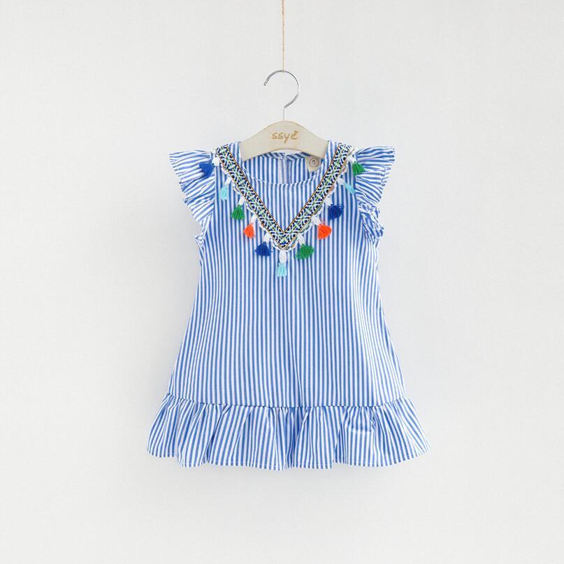 Alta calidad chicas vestido de niña borla ropa vestido para niña de rayas traje de niña volantes niños ropa azul vestidos