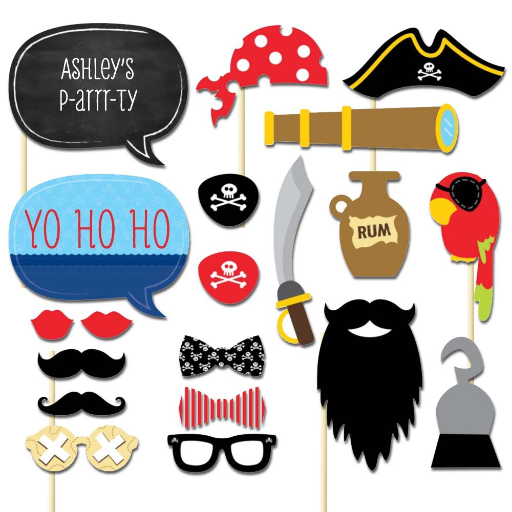 20PCS Pirates of the Caribbean paper photo prop photography props wedding party decoration child kid\'s birthday party favor-in Photobooth Props from ...