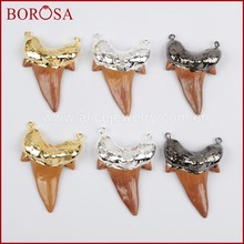 BOROSA Clearance Sale 5pcs Shark Teeth Gold Color Brown Resin Connector Druzy Charm Necklace Jewelry Gems G1331 S1331 B1331(China)