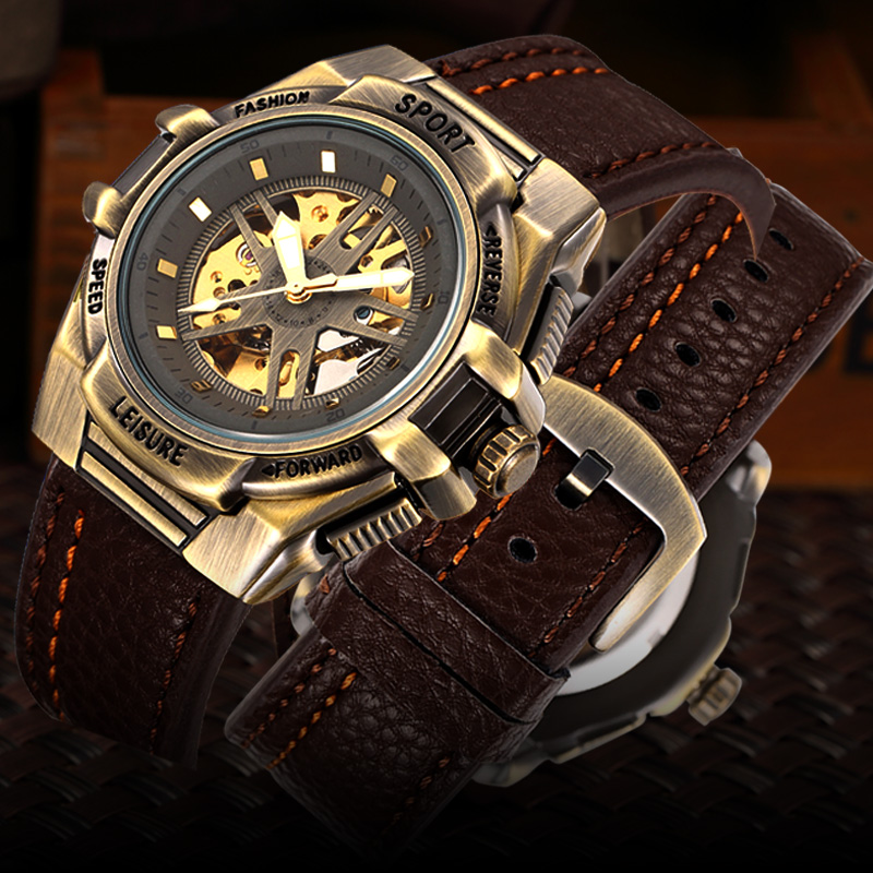 Skeleton Mechanical Watch Men Automatic Watches Brand SHENHUA Retro Leather Sport Luxury Bronze Vintage Watch Relogio Masculino