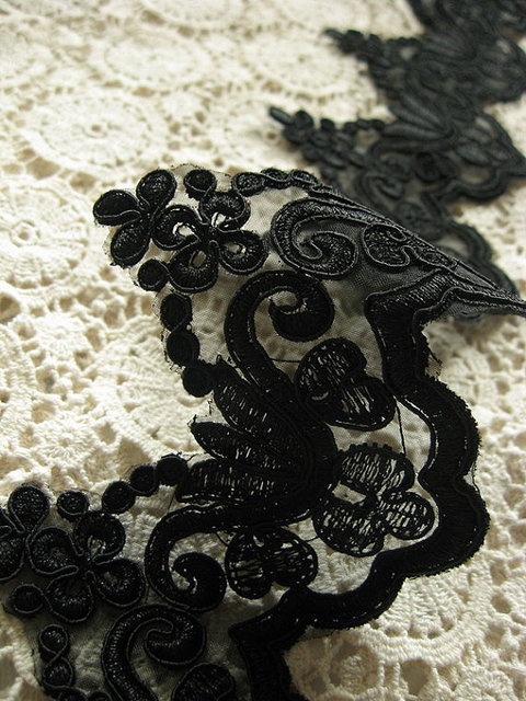 Black Alencon Lace Trim Black Crocheted Lace With Retro Floral