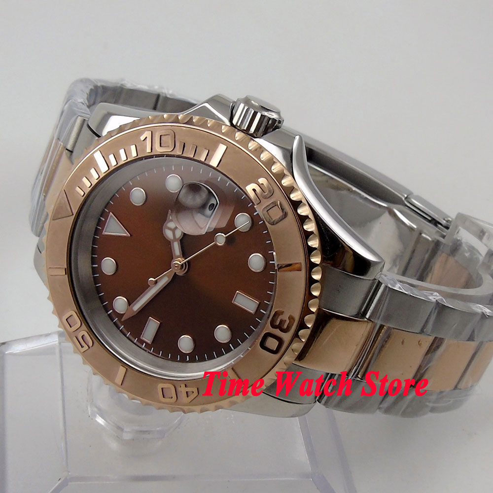 40mm coffee sterial dial saphire glass gold Ceramic Bezel gold case Automatic movement Men's watch BL62