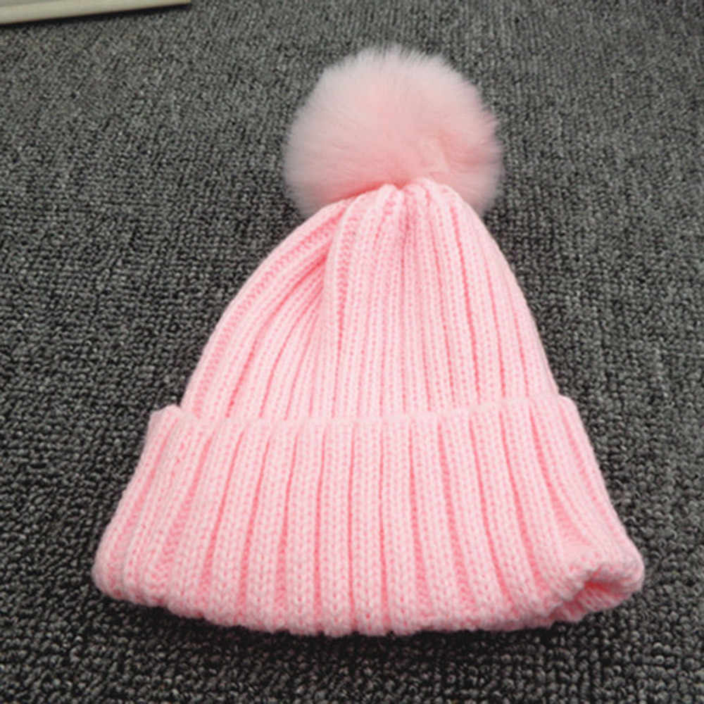 d57e942a9db3d ... Winter Baby Beanies Knit cute Hat Girls Warm Hat Natural Fur Ball Pom  Pom Cap For ...