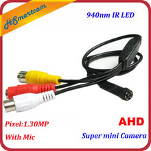 Super Mini Hd Ahd 720P Camera Cctv Home Security 940nm Ir Led Audio Camera Met Mic Cvbs Camera S