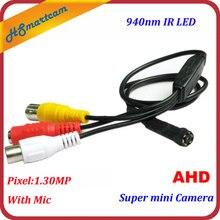 Super mini hd ahd 720p câmera cctv de segurança em casa 940nm ir led câmera de áudio com microfone câmeras cvbs