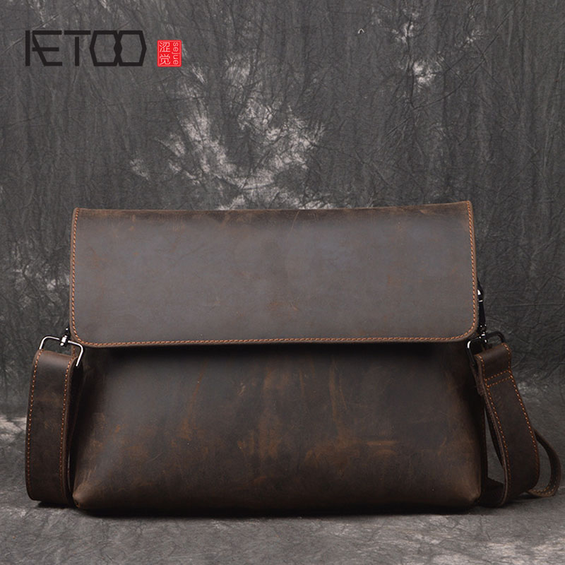 AETOO New fashion male bag leather shoulder bag retro first layer of leather Messenger bag crazy horse skin simple bag aetoo casual fashion shoulder bag leather new female package first layer of leather bags simple temperament leisure travel packa
