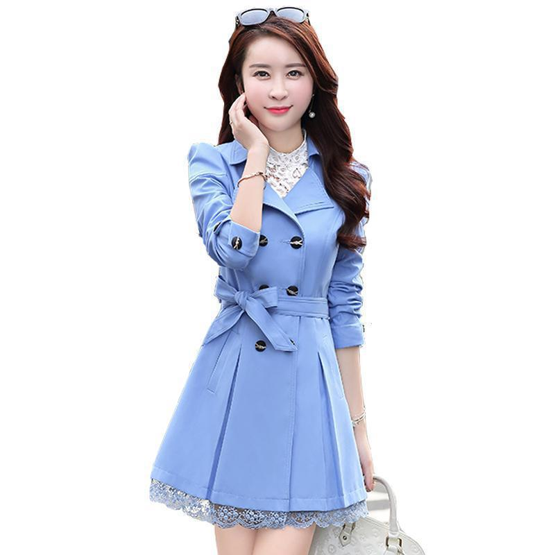 Fashion Women Double-breasted Trench Coat 2019 New Spring Long Sleeve Medium Long Plus Size Windbreaker Mujer