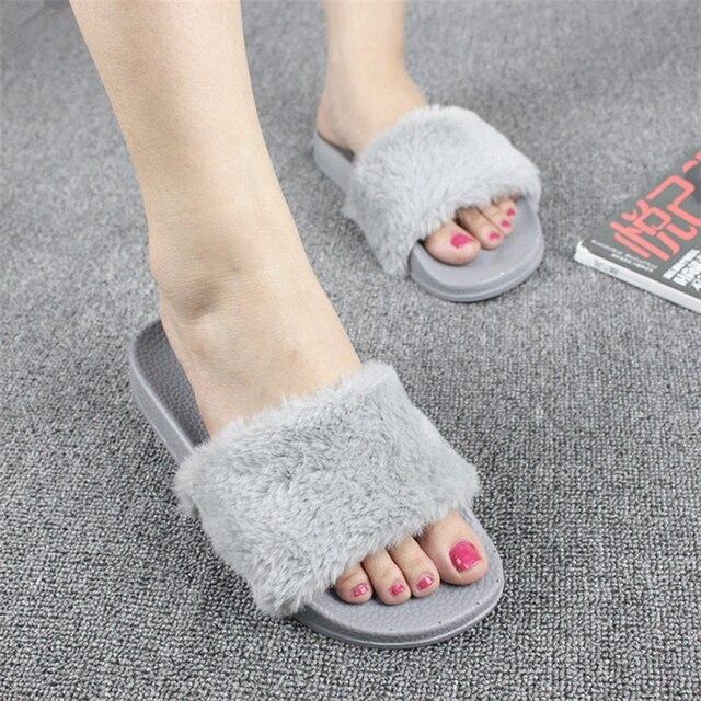 426d648d1 Hot Sale Fashion Spring Summer Autumn Home Plush Slippers Women Faux Fur  Slides Flip Flops Flat Shoes Girls Gift TR891228