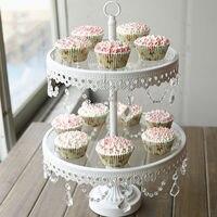 Verre gâteau stand 2 niveau blanc fer cany cookie affichage plateau de table de mariage parti décoration fournisseur de cuisson et pâtisserie gâteau outils