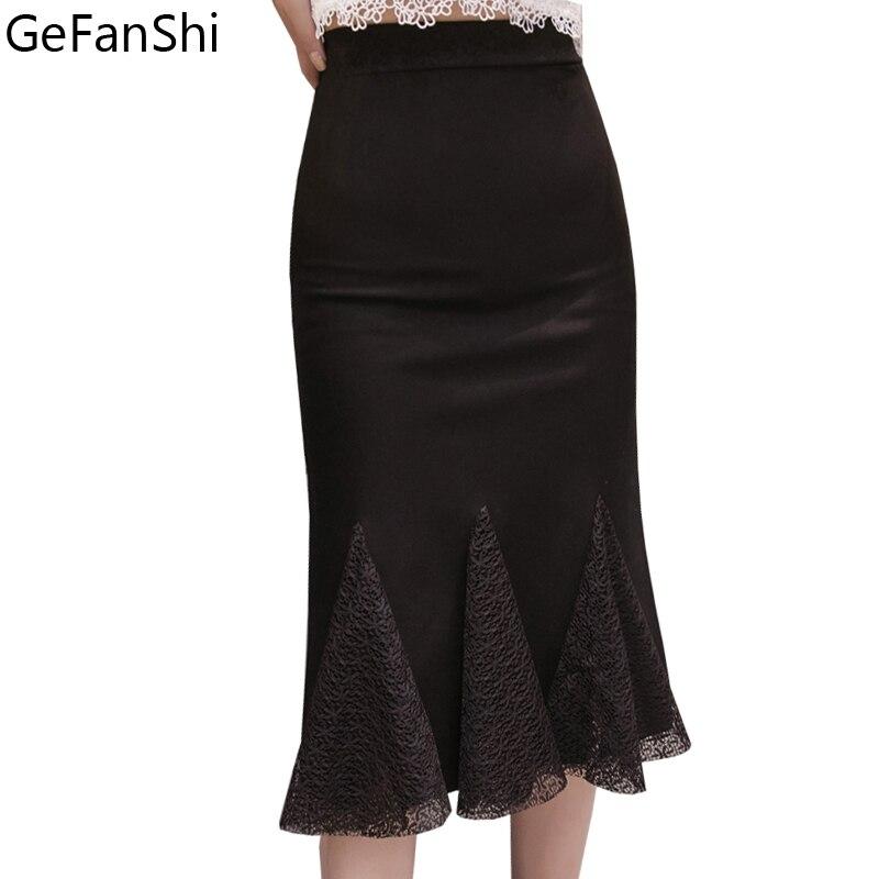 Fashion Spring Summer Women Skirt 2019 New Plus Size Femininas Slim Patchwork Lace Pencil Skirts Office Work Black Skirt S-5XL