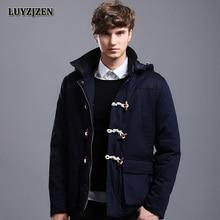 Padding Cotton Jacket Men Warm Long Thick Coat Men New Arrival 2017 Winter Parka Removable Cap Horn Button Hooded Coat  Y19