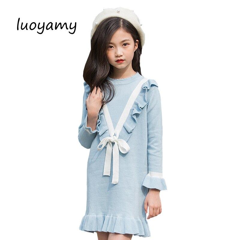 Luoyamy volants tricot enfants robes filles pulls 2018 automne hiver coton princesse pull robe pour filles école enfants vêtements