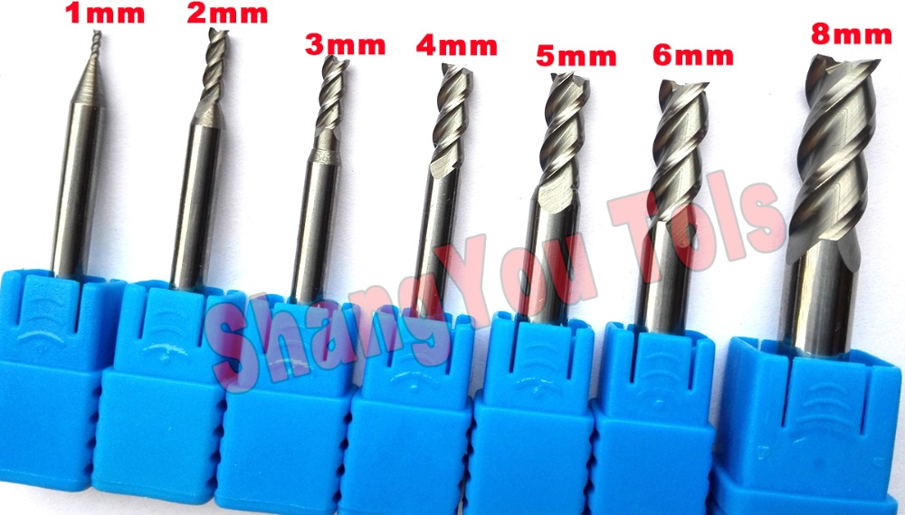 7pcs set 1mm 2mm 3mm 4mm 5mm 6mm 8mm HRC50 3Flutes End mill for Aluminum Milling
