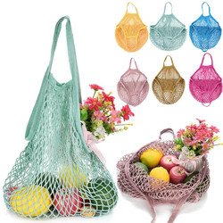 2019 New Mesh Net Turtle Bag String Shopping Bag Reusable Fruit Storage Handbag Totes Women Shopping Mesh Bag Shopper Bag