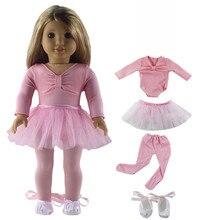 Conjunto de falda de Ballet para muñeca, ropa para muñeca americana de 18 pulgadas, hecha a mano, ropa encantadora
