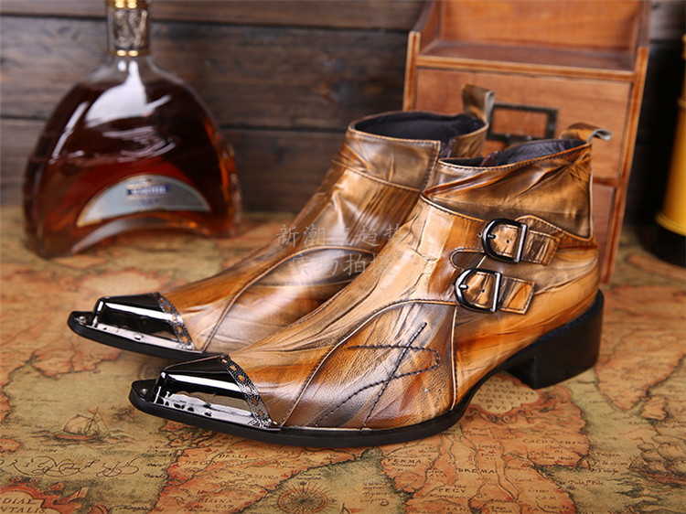 2018 Brown Pointed Toe Men Ankle Boots Spring Autumn Genuine Leather Botas Hombre Cowboy Military Boots Prom Dress Shoes fashion men ankle boots spring autumn genuine leather shoes lace up botas hombre metal pointed toe cowboy military boots flats