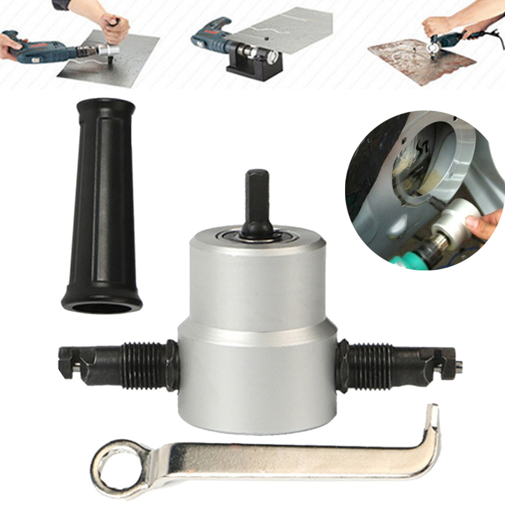 360 Degree Nibble Metal Cutting Double Head Sheet Nibbler Hole Saw Cutter Drill Tool Tackle Car Repair Metal Sheet Production