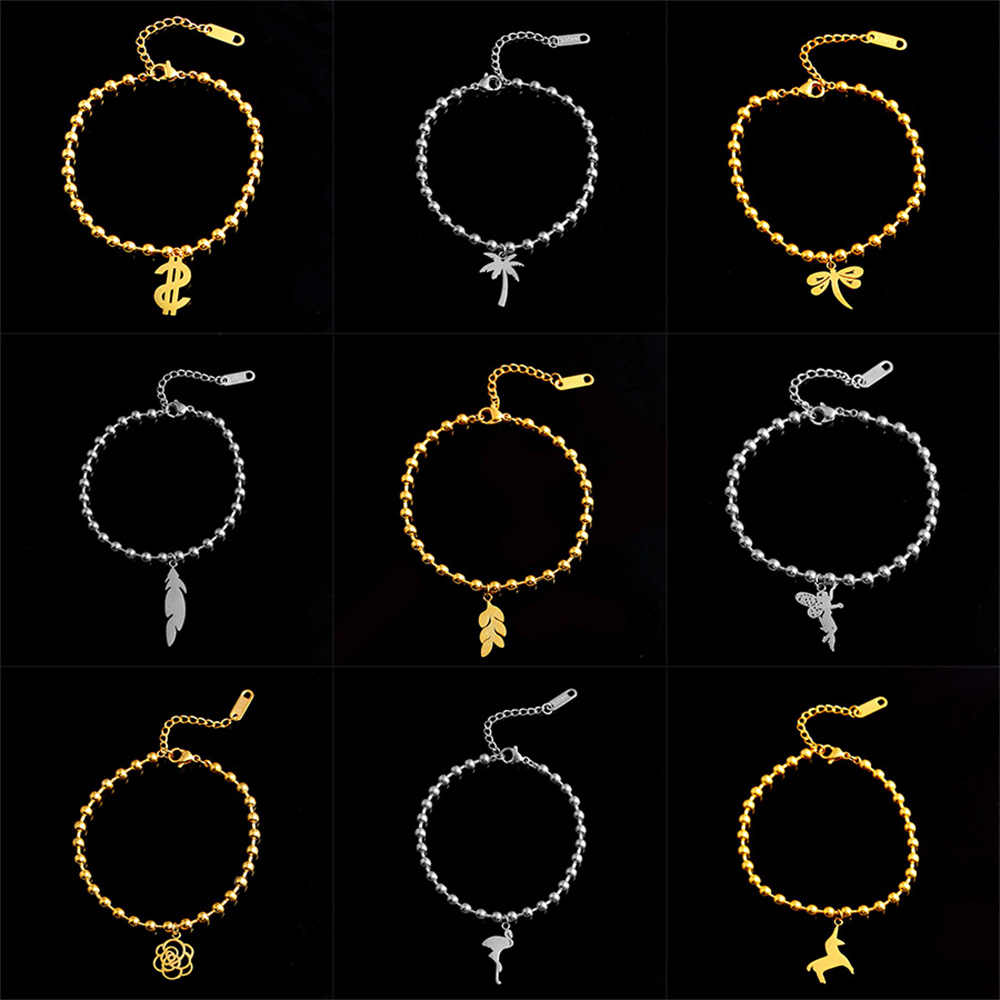 SHE WEIER beads bracelet bangles charm stainless steel chain link couple braclet for women female femme silver gold leaf