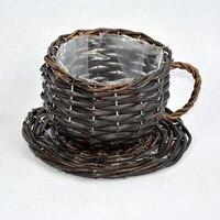 Creative Rattan Flower Basket Flower Pot Planter Vase Container Home Desktop Garden Decoration Garden Supplies ZA3141