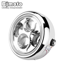 BJMOTO Chrome 6.5 40W LED Motorcycle Headlight Hi&Lo Beam with Angel Eye Headlamp For Harley Suzuki Yamaha Cafe Racer