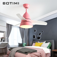 BOTIMI New Arrival Ceiling Fan with Lights Modern LED Ceiling Fan Lamp For Living Room Home Deco Cooling Fan Lighting Fixtures