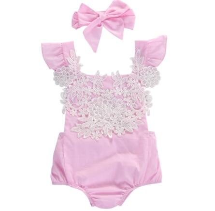 Liefern 2 Stücke Super Nette Rosa Strampler Für Baby Mädchen Neugeborenen Baby Mädchen Spielanzug-overall Lace Floral Kleidung Stirnband Outfits Sunsuit Herausragende Eigenschaften
