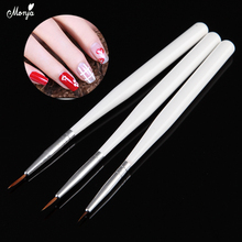 Monja 3Pcs 8/10/12mm Nail Art White Handle Painting Brush Set Flower Stripe Lines Liner Grid French Drawing Pen Manicure Tool