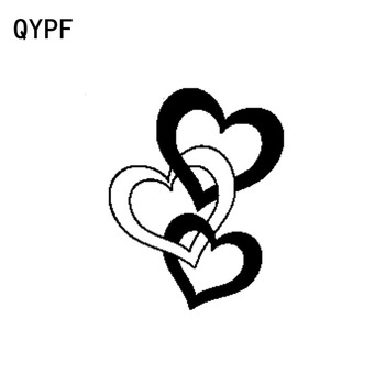 QYPF 12.2CM*15.5CM Entwined Hearts Love Romantic Decor Car Sticker Decal Black/Silver Vinyl Graphical C15-0634 image